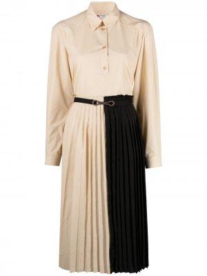 Платье-рубашка в двух тонах с плиссировкой Ports 1961. Цвет: нейтральные цвета