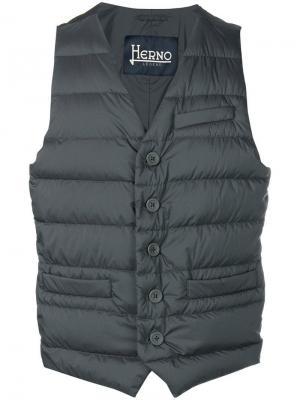 Стеганый жилет Herno. Цвет: серый