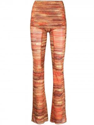 Расклешенные брюки с принтом Hard Stripes KNWLS. Цвет: оранжевый