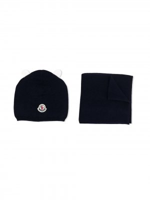 Комплект из шапки бини и шарфа с логотипом Moncler Enfant. Цвет: синий