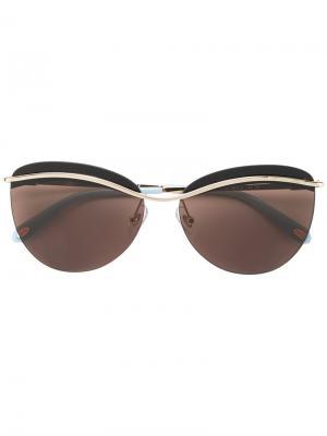 Солнцезащитные очки кошачий глаз Tiffany & Co Eyewear. Цвет: коричневый