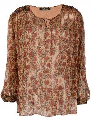 Полупрозрачная блузка с цветочным узором Mes Demoiselles. Цвет: коричневый