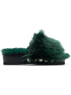 Jewelled fur slides Suecomma Bonnie. Цвет: зеленый