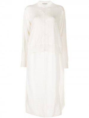 Многослойное платье свободного кроя Junya Watanabe. Цвет: белый