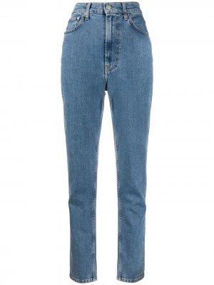 Зауженные джинсы с завышенной талией Helmut Lang. Цвет: синий