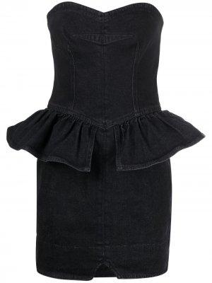Джинсовое платье мини с баской Isabel Marant. Цвет: черный