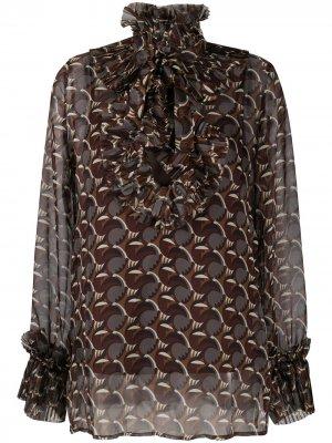 Блузка с геометричным принтом P.A.R.O.S.H.. Цвет: коричневый