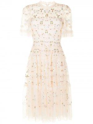 Платье с цветочной вышивкой и пайетками Needle & Thread. Цвет: нейтральные цвета