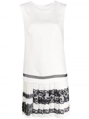 Платье без рукавов с кружевом Ermanno Scervino. Цвет: белый