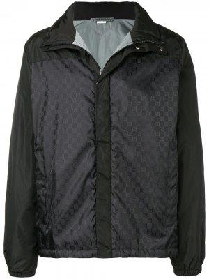 Утепленная куртка с принтом GG Gucci. Цвет: черный