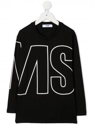 Топ свободного кроя с логотипом Msgm Kids. Цвет: черный