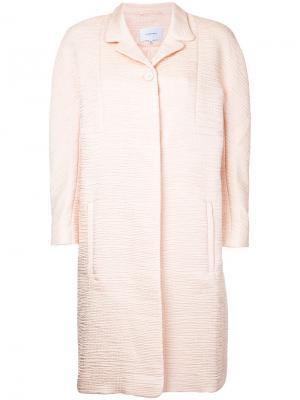 Фактурное пальто миди Carven. Цвет: розовый