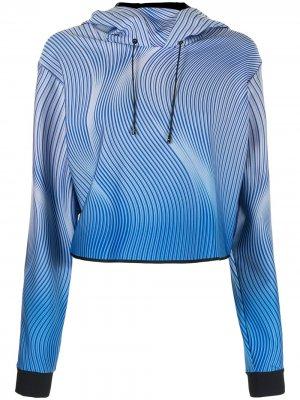 Укороченное худи с принтом Ruffle Wave Ultracor. Цвет: синий