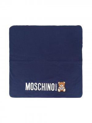 Одеяло с логотипом Moschino Kids. Цвет: синий
