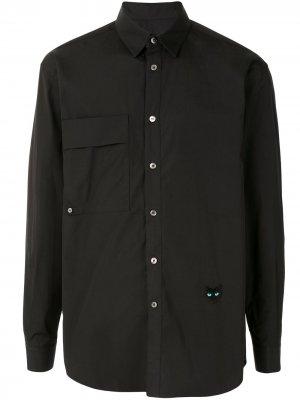 Рубашка с длинными рукавами и накладным карманом ZZERO BY SONGZIO. Цвет: черный