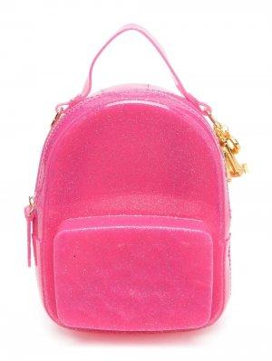 Рюкзак с блестками и подвеской Monnalisa. Цвет: розовый