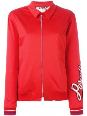 Куртка-бомбер с надписью paradise Brognano. Цвет: красный