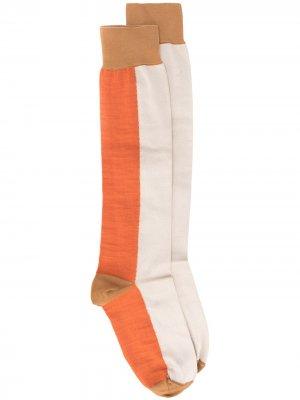 Носки в стиле колор-блок Marni. Цвет: коричневый