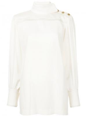 Блузка с воротником-стойка Sonia Rykiel. Цвет: белый