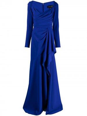 Вечернее платье Yahya с драпировкой Tadashi Shoji. Цвет: синий