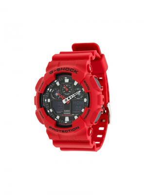 Часы GA-100B-4AER G-Shock. Цвет: красный