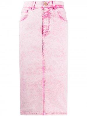 Джинсовая юбка миди с завышенной талией Vivetta. Цвет: розовый