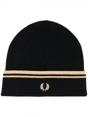 Трикотажная шапка бини Fred Perry. Цвет: 157 черный/champagne