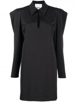 Платье с объемными плечами Erika Cavallini. Цвет: черный