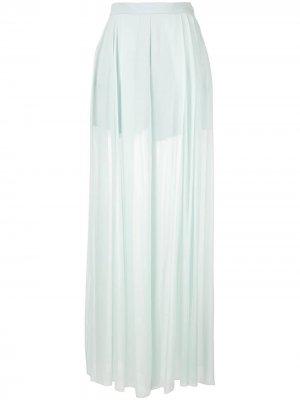 Прозрачные брюки широкого кроя Delpozo. Цвет: синий