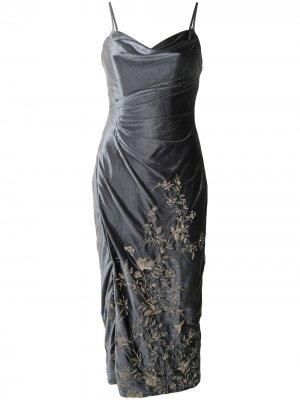 Бархатное платье с цветочной вышивкой Marchesa Notte. Цвет: синий