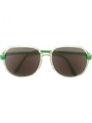 Солнцезащитные очки с круглой оправой Krizia Pre-Owned. Цвет: зеленый