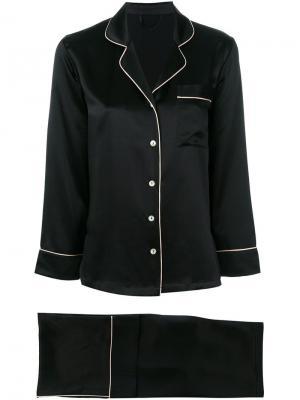 Пижама с контрастной окантовкой Fleur Of England. Цвет: черный