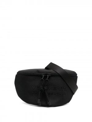 Поясная сумка с логотипом VETEMENTS. Цвет: черный