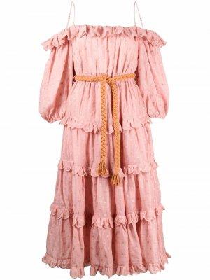 Платье в горох с открытыми плечами Zimmermann. Цвет: розовый