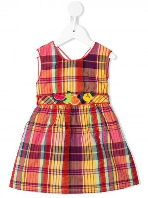 Клетчатое платье с вышивкой Familiar. Цвет: оранжевый