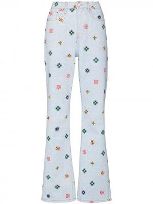 Расклешенные джинсы Flowers Kirin. Цвет: синий