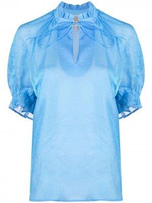 Блузка с оборками Baum Und Pferdgarten. Цвет: синий