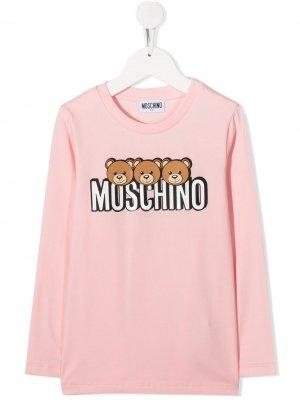 Топ с длинными рукавами и логотипом Moschino Kids. Цвет: розовый