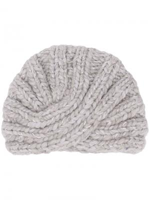 Fitted knitted hat Eugenia Kim. Цвет: серый