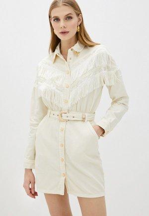 Платье джинсовое River Island. Цвет: бежевый