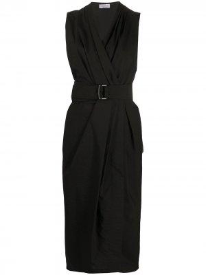Платье с запахом и поясом Brunello Cucinelli. Цвет: черный