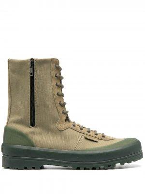 Высокие ботинки на шнуровке Superga. Цвет: зеленый