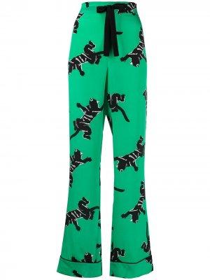 Прямые брюки с завышенной талией и графичным принтом DVF Diane von Furstenberg. Цвет: зеленый
