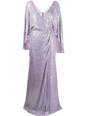 Драпированное платье с пайетками Jenny Packham. Цвет: фиолетовый
