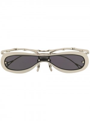 Солнцезащитные очки в овальной оправе Innerraum. Цвет: серебристый