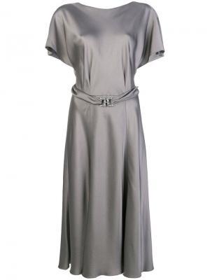 Платье миди с запахом Alberta Ferretti. Цвет: серый