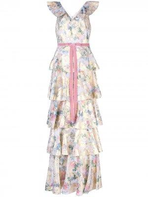 Платье макси с цветочным принтом и оборками Marchesa Notte. Цвет: золотистый