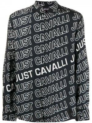 Рубашка с длинными рукавами и логотипом Just Cavalli. Цвет: черный