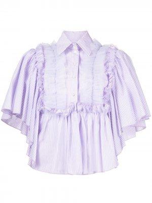 Полосатая рубашка с короткими рукавами и оборками Viktor & Rolf. Цвет: фиолетовый