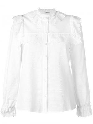 Рубашка с волнистым подолом Vilshenko. Цвет: белый